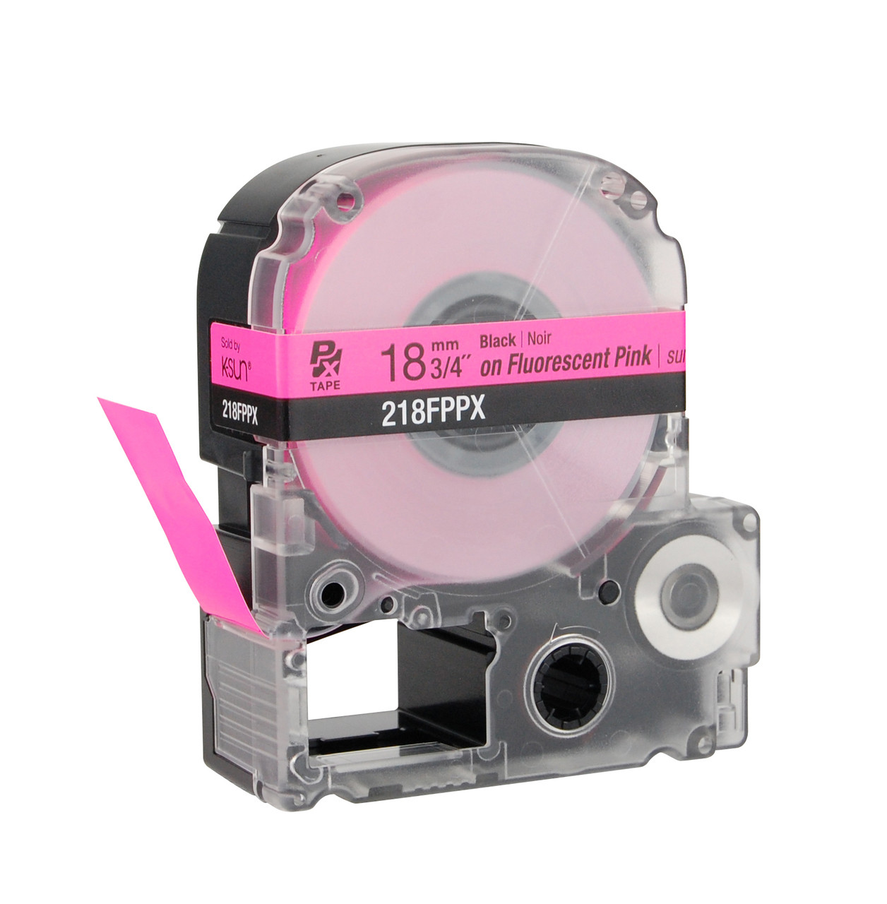 """Epson 218FPPX 3/4"""" Pink Glossy Flourescent Label PX Tape"""