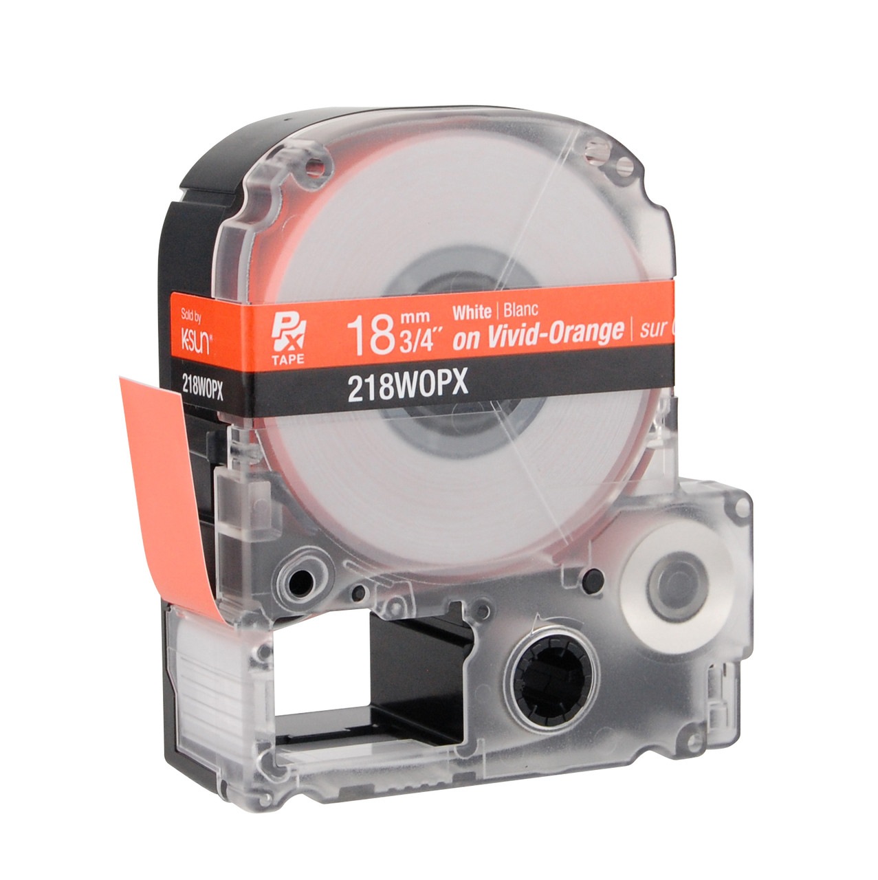"""Epson 218WOPX 3/4"""" Orange Glossy Polyester Label PX Tape"""