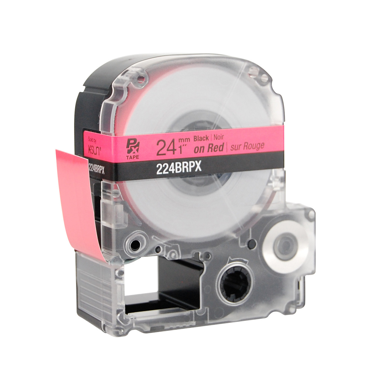 """Epson 224BRPX 1"""" Red Glossy Polyester Label PX Tape"""