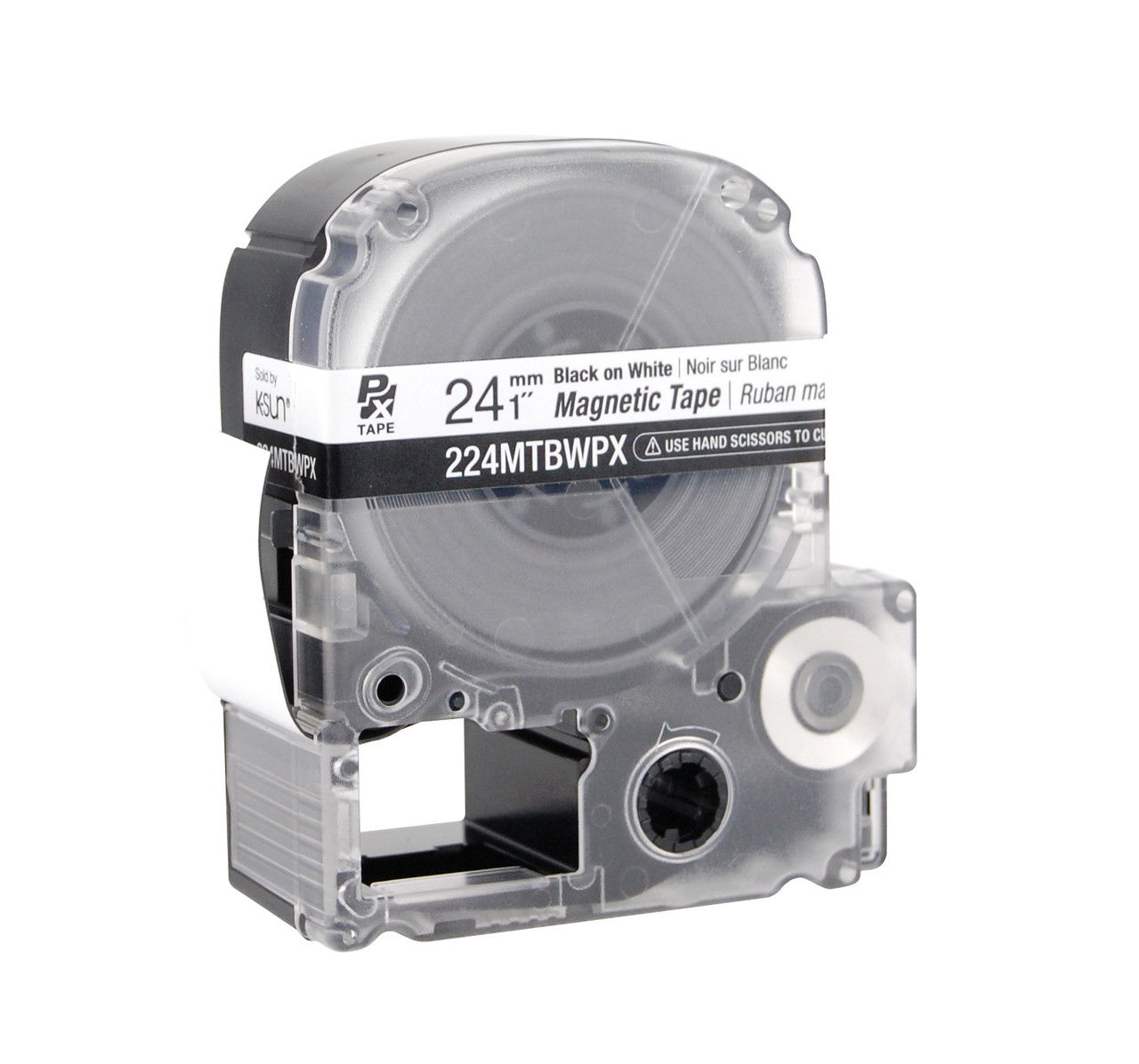 """Epson 224MTBWPX 1"""" White Glossy Magnetic PX Tape"""