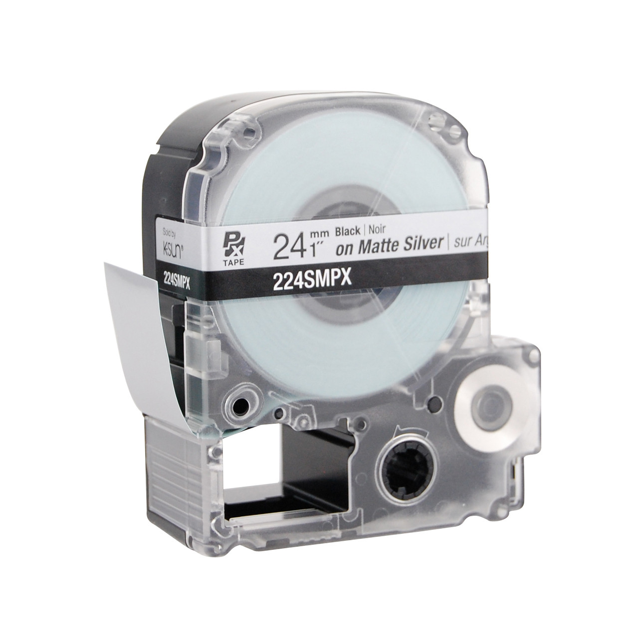 """Epson 224SMPX 1"""" Silver Matte Polyester Label PX Tape"""