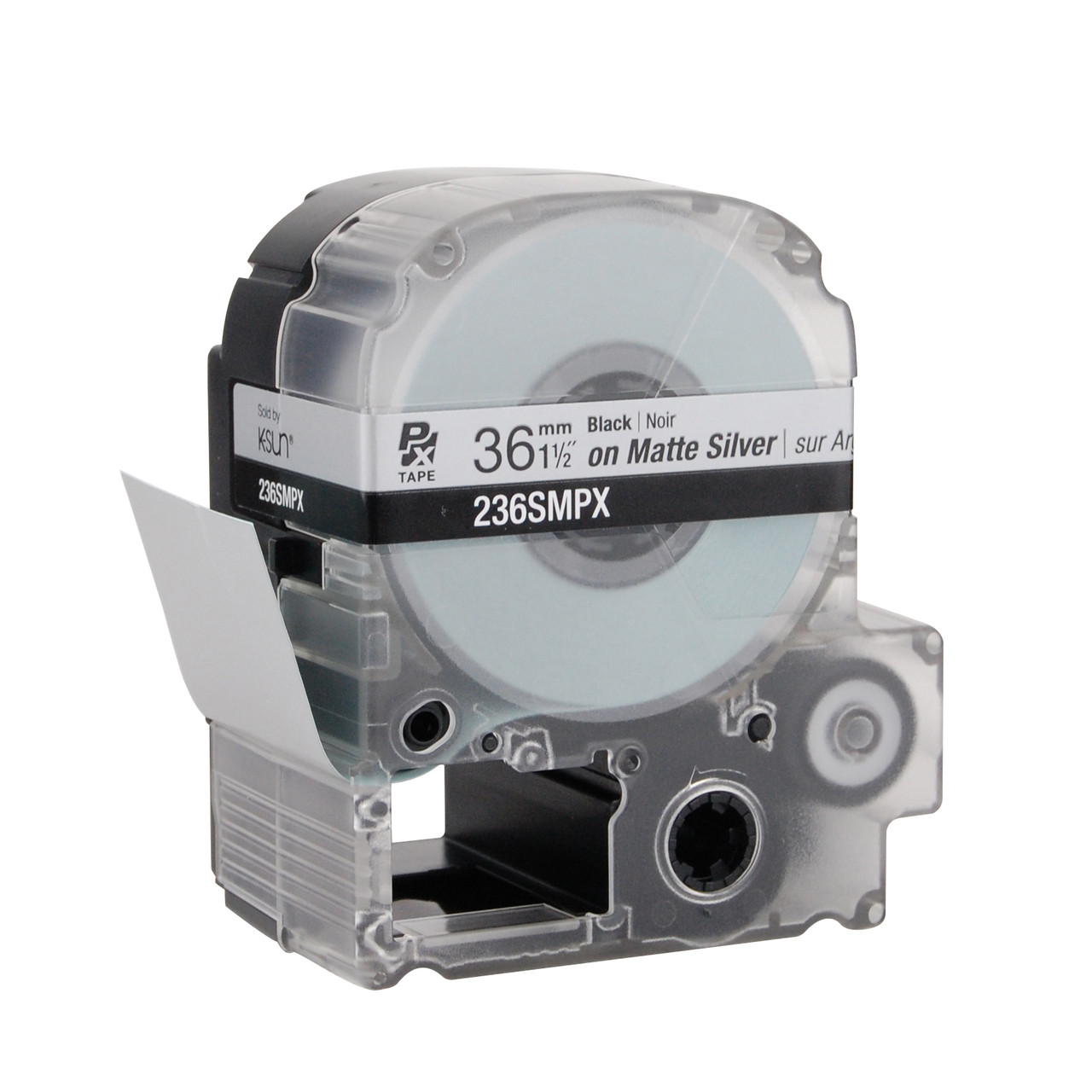 """Epson 236SMPX 1 1/2"""" Silver Matte Polyester Label PX Tape"""