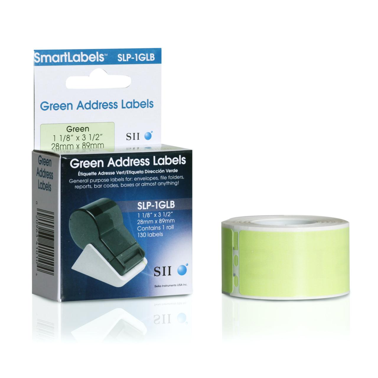 Seiko SLP620/650 1.125 x 3.5 Green Address Inkjet Labels SLP-1GLB