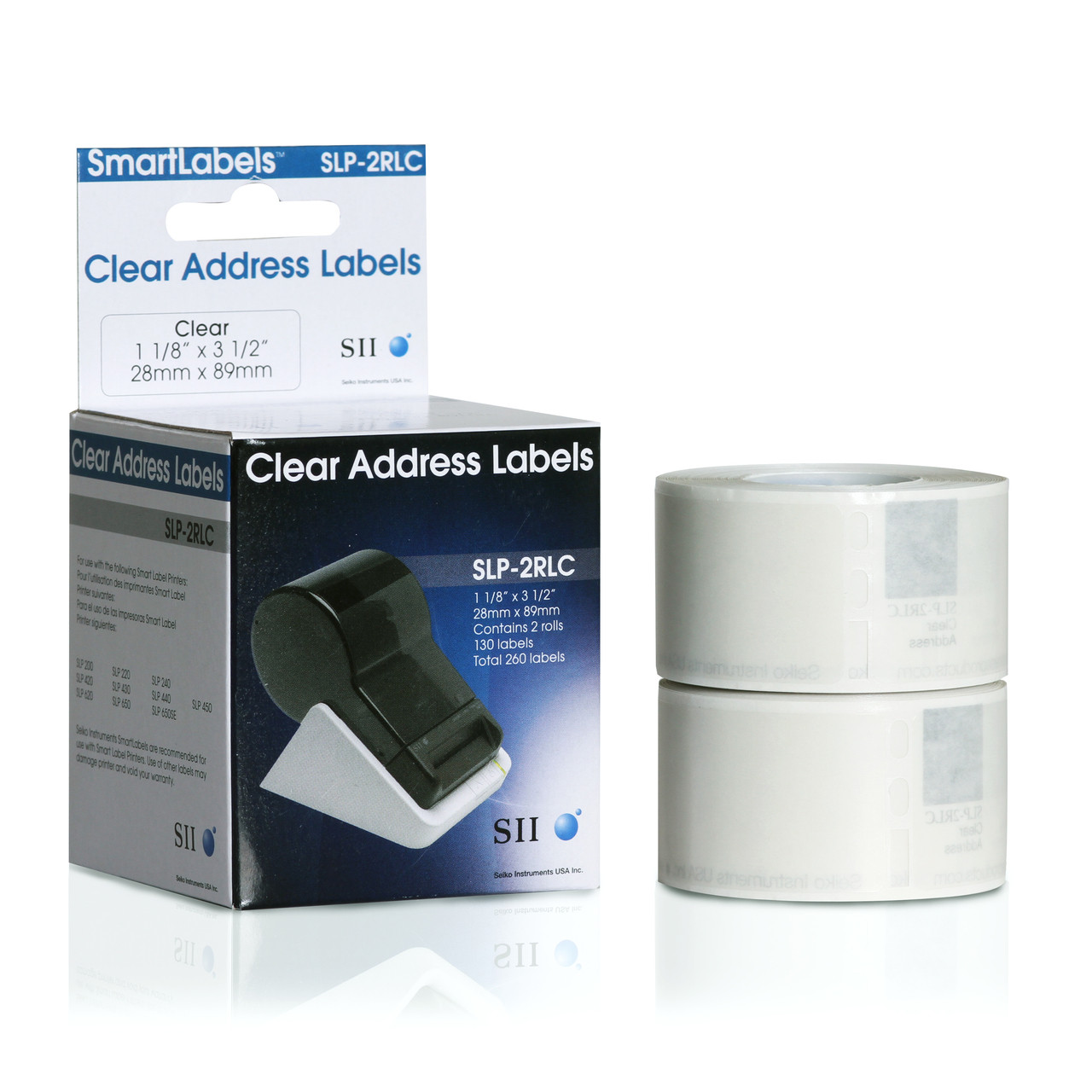 Seiko SLP620/650 1.125 x 3.5 Clear Address Inkjet Labels SLP-2RLC