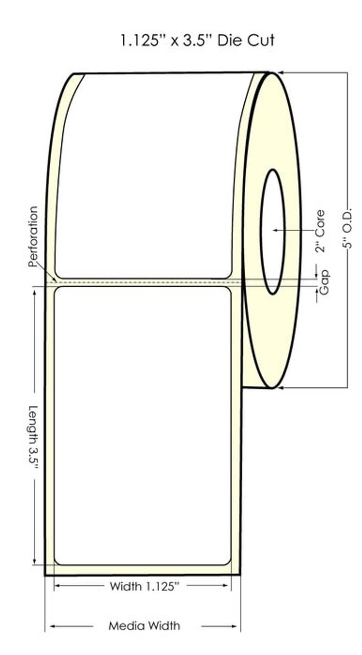Seiko SLP620/650 1.125 x 3.5 White Removable Inkjet Labels SLP-R2RL
