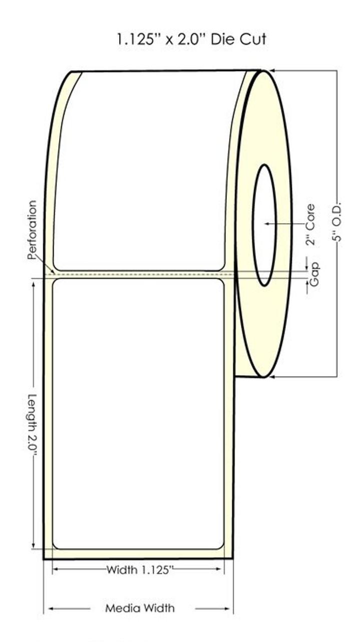Seiko SLP620/650 1.125 x 2 White Removable Inkjet Labels SLP-RMRL