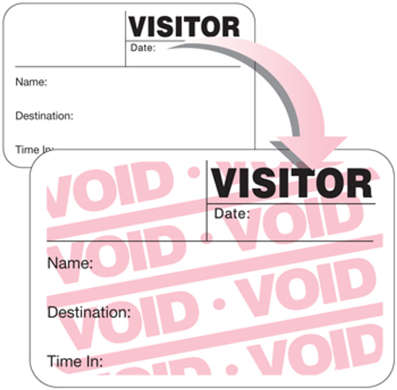 "VisitorPass 4"" x 2"" Full Expiring Direct Thermal Name Badges (VDTF4)"