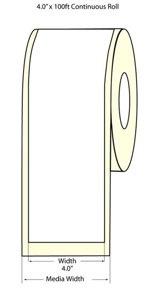 """TM-C3500 4"""" x 100 ft Satin Matte BOPP Label Roll (814042)"""