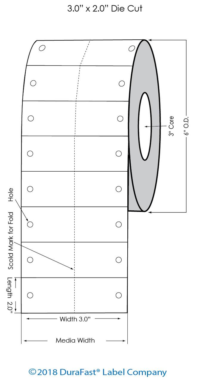 "Epson TM-C7500G 3""x2"" Glossy BOPP Tag 2,000/Roll w Fold/Holes (54500)"