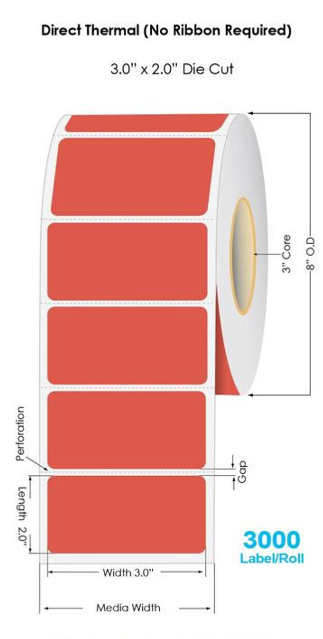 """Industrial Red Direct Thermal 3"""" x 2"""" Floodcoated Labels 3000/Roll - 3"""" Core 