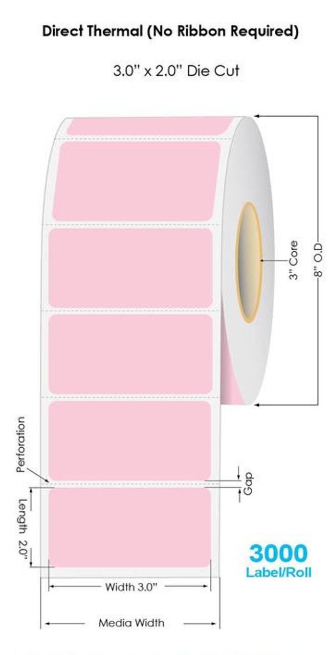 """Industrial Pink Direct Thermal 3"""" x 2"""" Floodcoated Labels 3000/Roll - 3"""" Core   8"""" OD"""