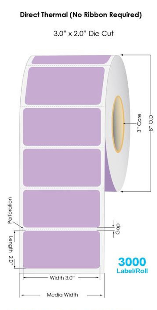 """Industrial Purple Direct Thermal 3"""" x 2"""" Floodcoated Labels 3000/Roll - 3"""" Core 