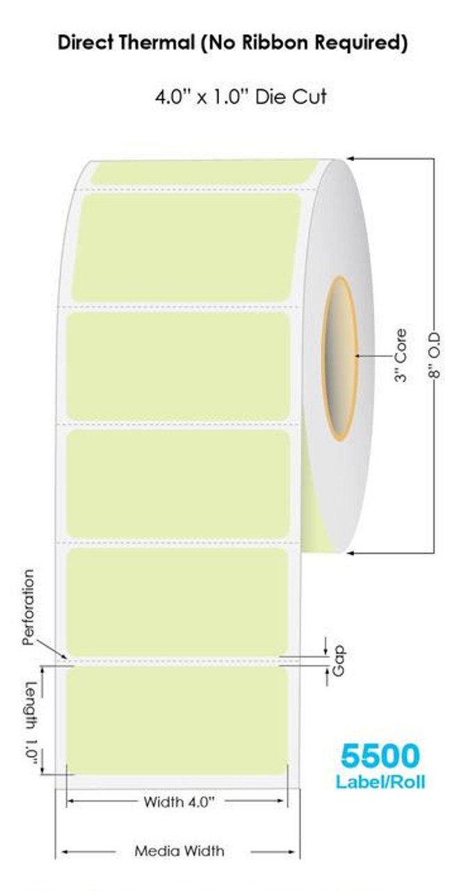 """Industrial Green Direct Thermal 4"""" x 1"""" Floodcoated Labels 5500/Roll - 3"""" Core 