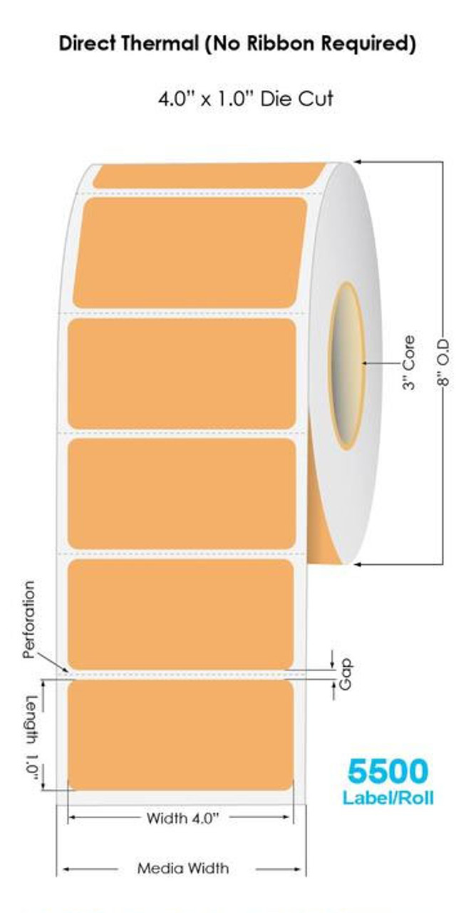"""Industrial Orange Direct Thermal 4"""" x 1"""" Floodcoated Labels 5500/Roll - 3"""" Core   8"""" OD"""