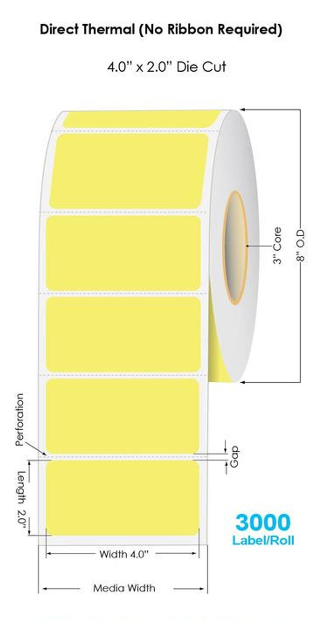 """Industrial Yellow Direct Thermal 4"""" x 2"""" Floodcoated Labels 3000/Roll - 3"""" Core 