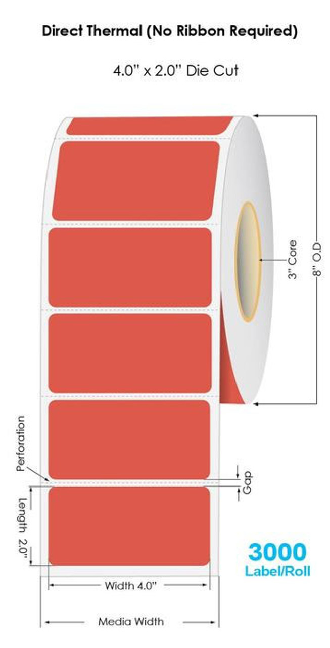 """Industrial Red Direct Thermal 4"""" x 2"""" Floodcoated Labels 3000/Roll - 3"""" Core   8"""" OD"""