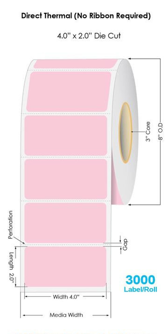 """Industrial Pink Direct Thermal 4"""" x 2"""" Floodcoated Labels 3000/Roll - 3"""" Core 