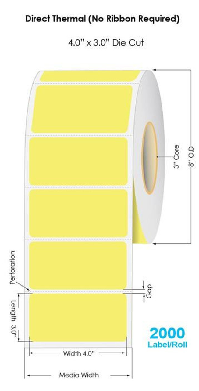 """Industrial Yellow Direct Thermal 4"""" x 3"""" Floodcoated Labels 2000/Roll - 3"""" Core 