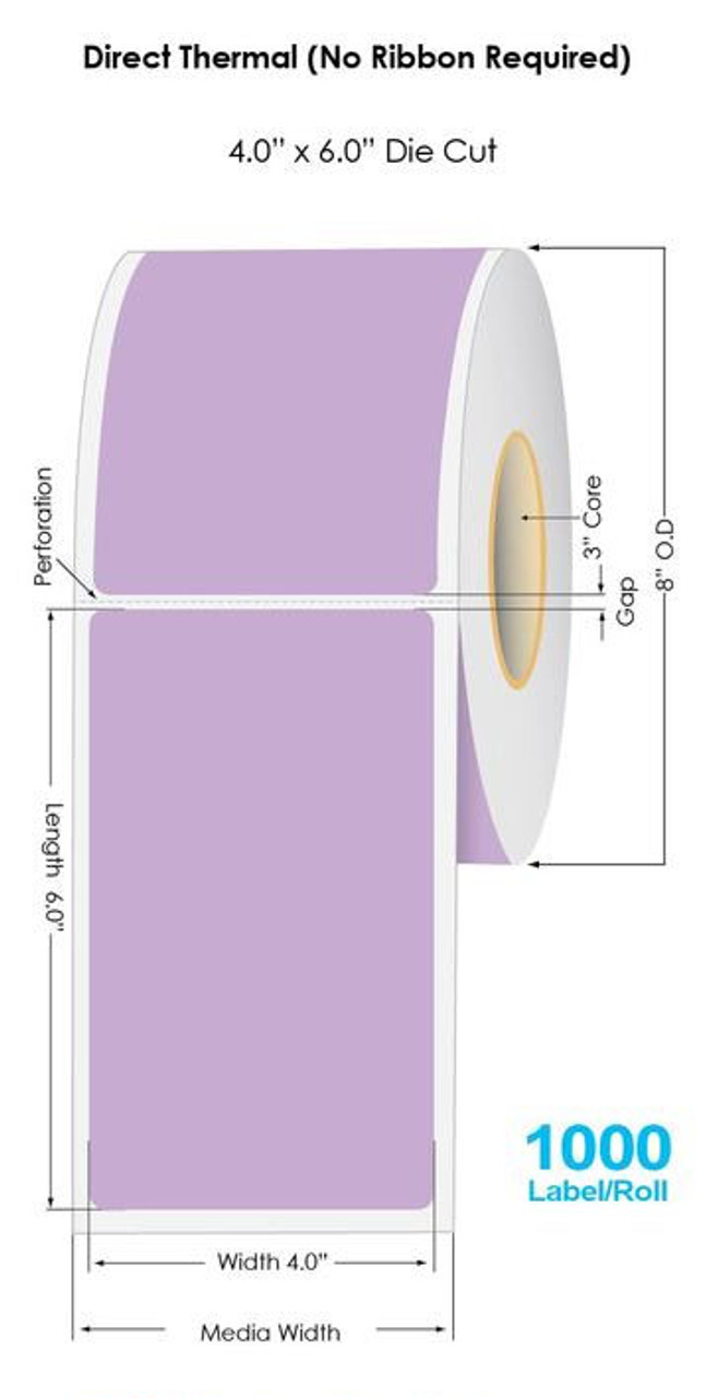 """Industrial Purple Direct Thermal 4"""" x 6"""" Floodcoated Labels 1000/Roll - 3"""" Core 