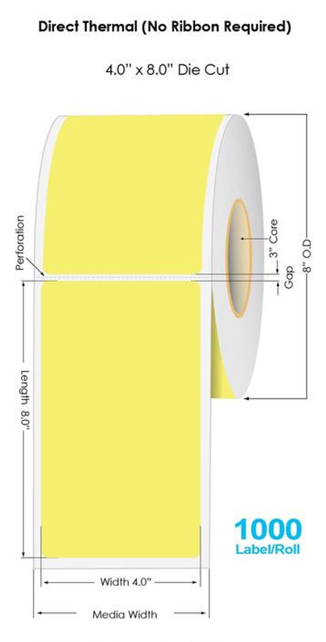 """Industrial Yellow Direct Thermal 4"""" x 8"""" Floodcoated Labels 750/Roll - 3"""" Core   8"""" OD"""