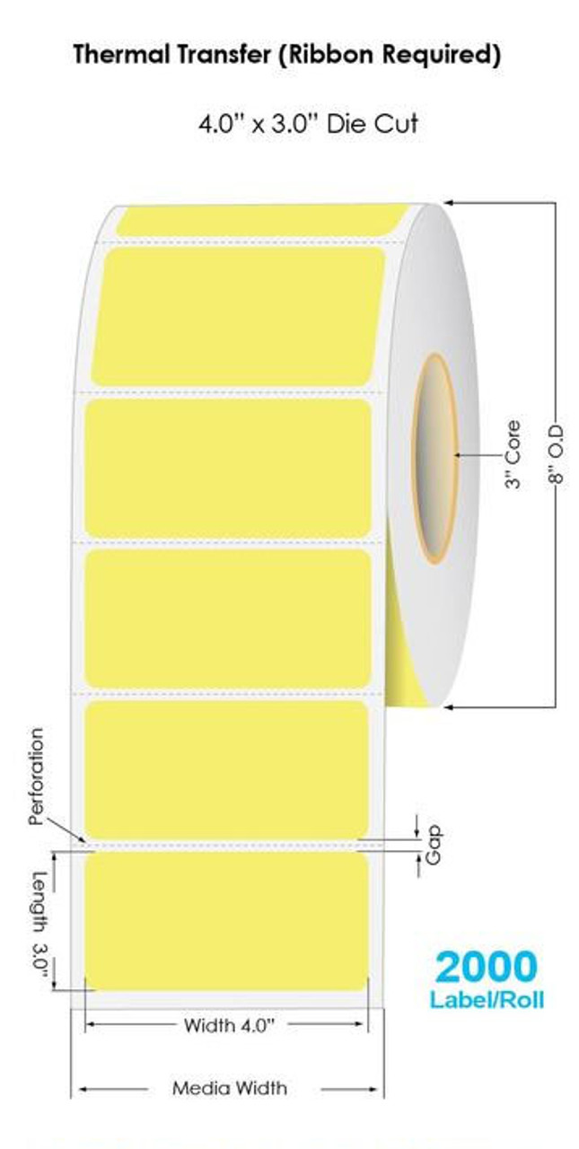 """Industrial PMS Yellow Thermal Transfer 4"""" x 3"""" Floodcoated Labels 2000/Roll - 3"""" Core 