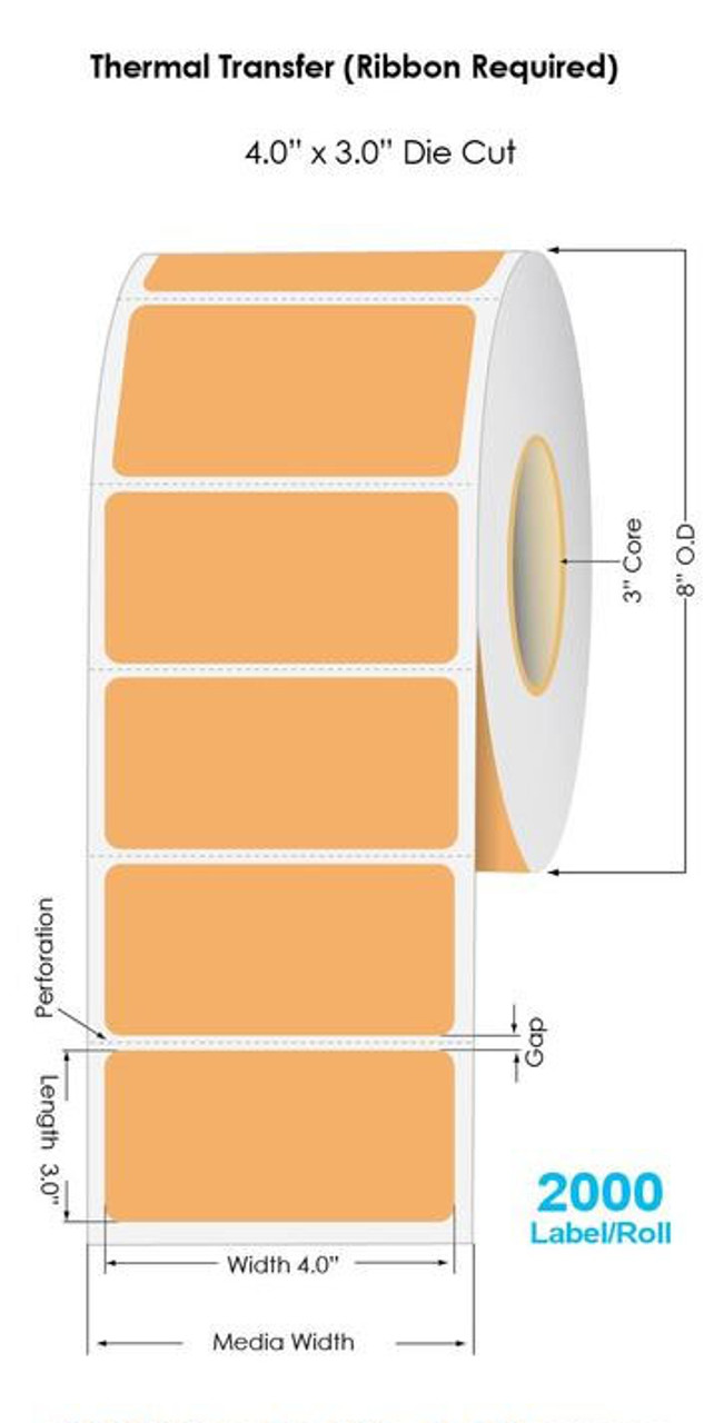 """Industrial 804 ORANGE Thermal Transfer 4"""" x 3"""" Fluorescent Floodcoated Labels 2000/Roll - 3"""" Core 