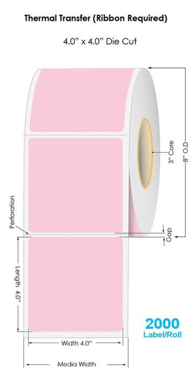 """Industrial 806 PINK Thermal Transfer 4"""" x 4"""" Fluorescent Floodcoated Labels 2000/Roll - 3"""" Core 