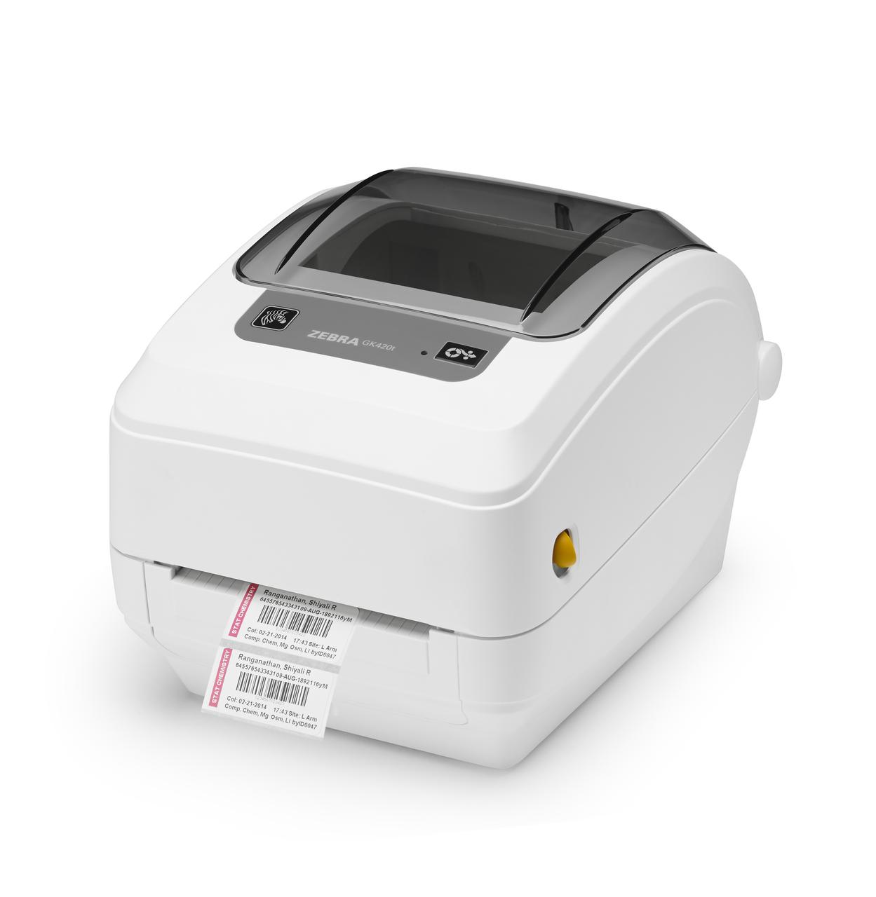 "Zebra GK420T 203 dpi Desktop Thermal Transfer Label Printer 4""/Ethernet/Dispenser"