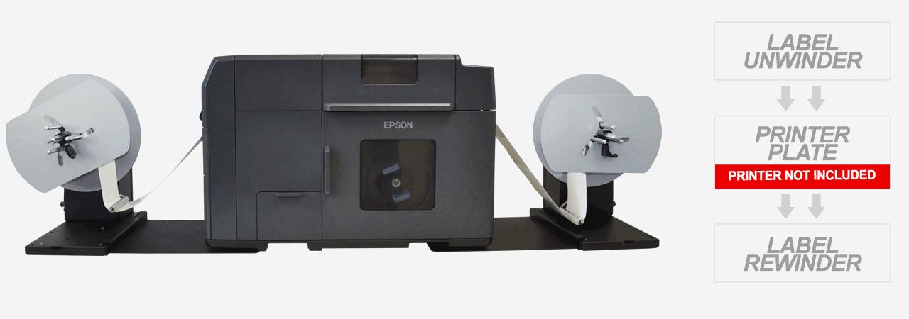 Epson TM-C7500 shown with Unwinder, Rewinder and Junction Plates
