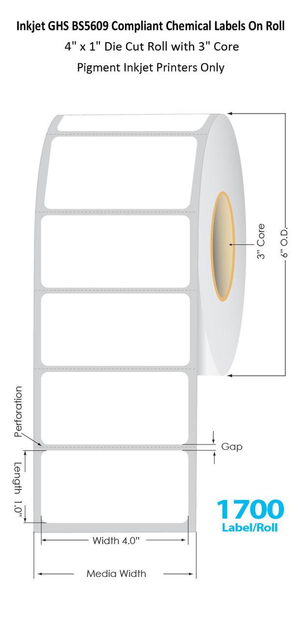 "C6500 4"" x 1"" Inkjet Chemical Die Cut Label Roll | 1700/Roll | 3"" Core/6""OD (56010)"