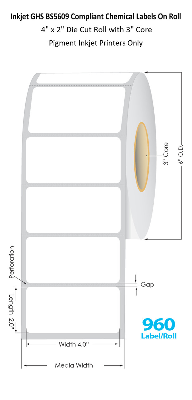 "C6500 4"" x 2"" Inkjet Chemical Die Cut Label Roll | 960/Roll | 3"" Core/6""OD (56011)"