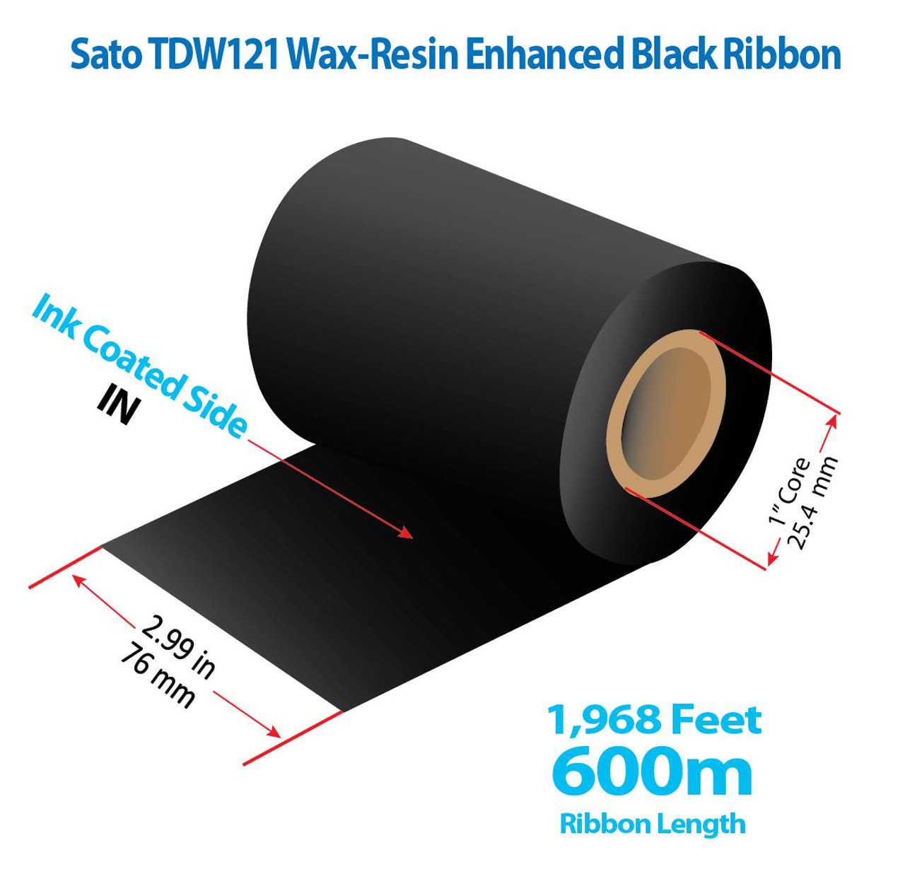 """SATO 2.99"""" x 1968 Ft TDW121 Resin Enhanced Wax Ribbon with INK IN 