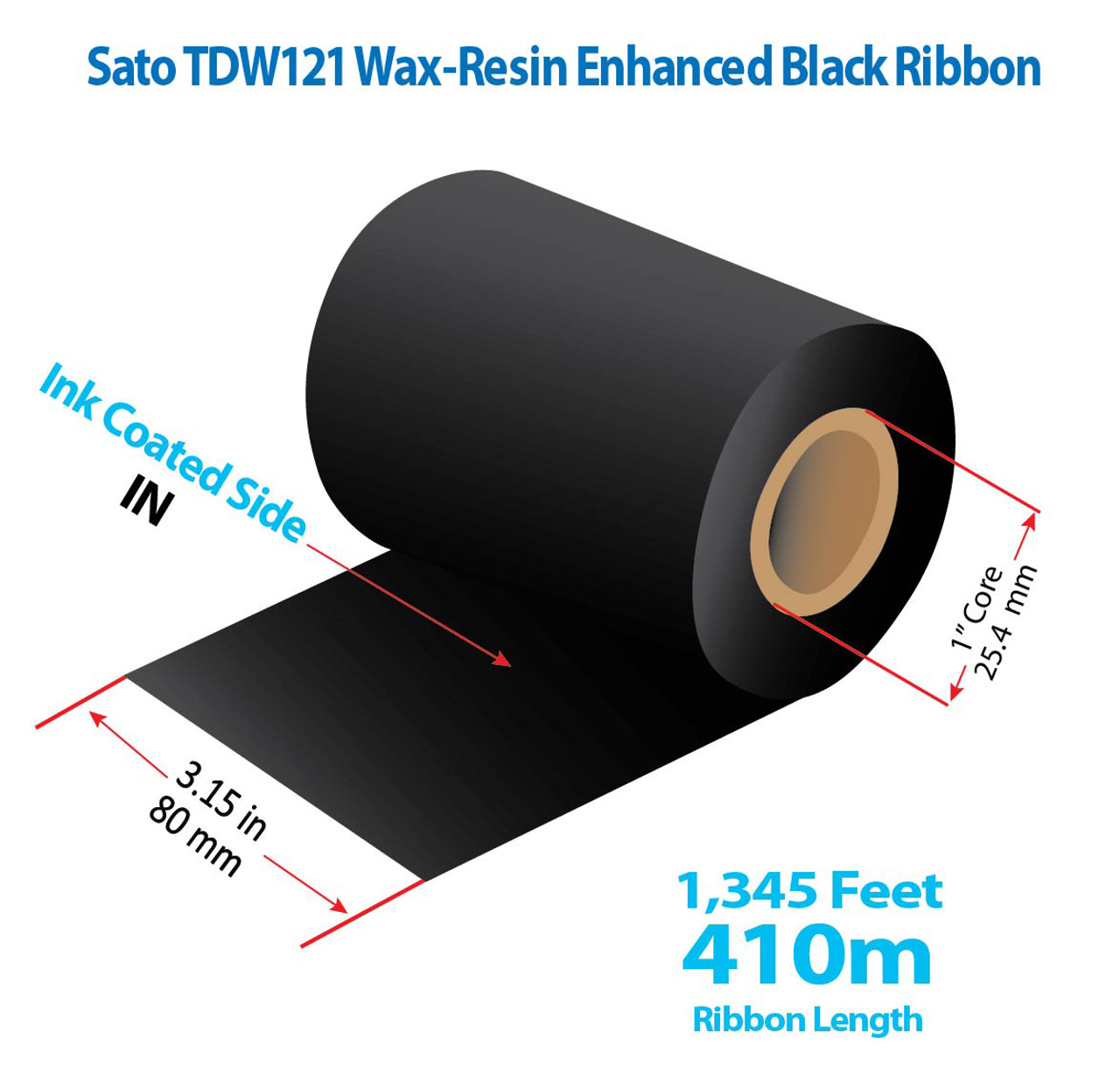 """SATO 3.15"""" x 1345 Ft TDW121 Resin Enhanced Wax Ribbon with INK IN   24/CTN (39118)"""