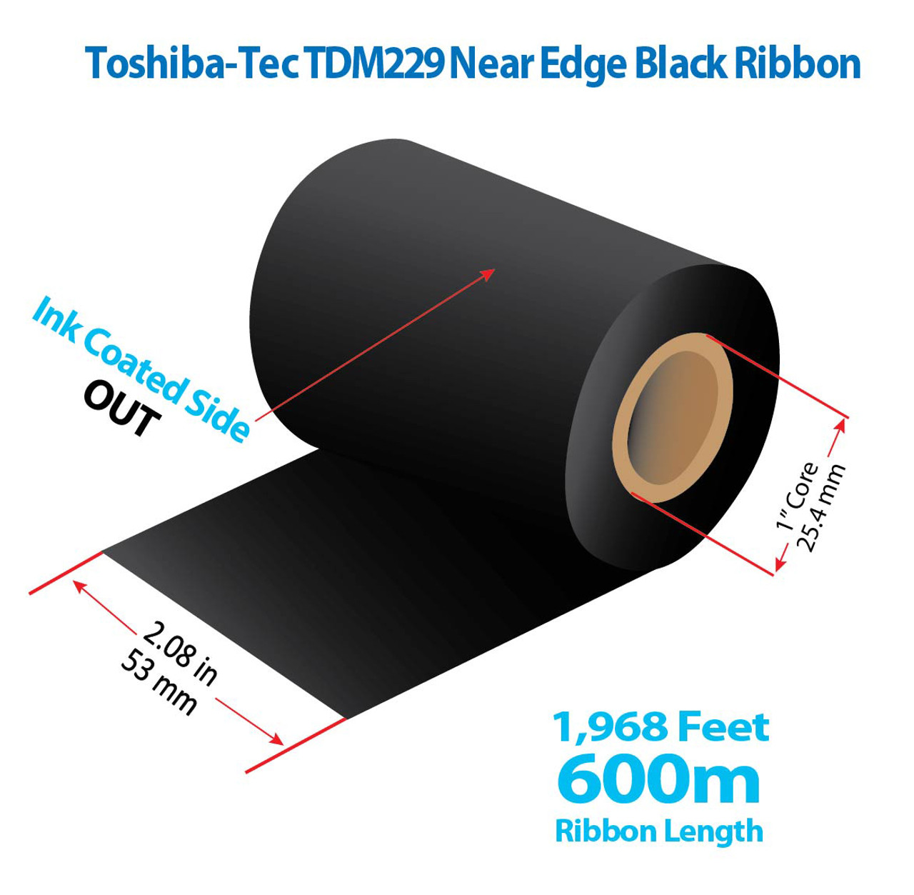 "Toshiba-Tec 2.08"" x 1968 Ft TDM229 Near Edge Wax/Resin Ribbon with INK OUT 