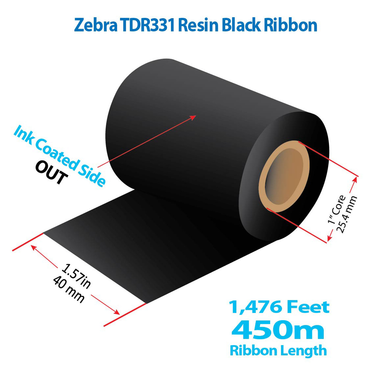 """Zebra 1.57"""" x 1476 Ft TDR325 Resin Ribbon with INK OUT   48/CTN (39214)"""