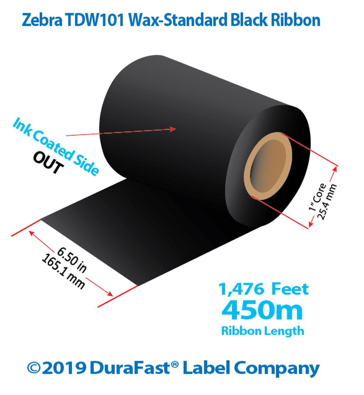 """Zebra 6.5"""" x 1476 Ft TDW101 Wax Ribbon with INK OUT 
