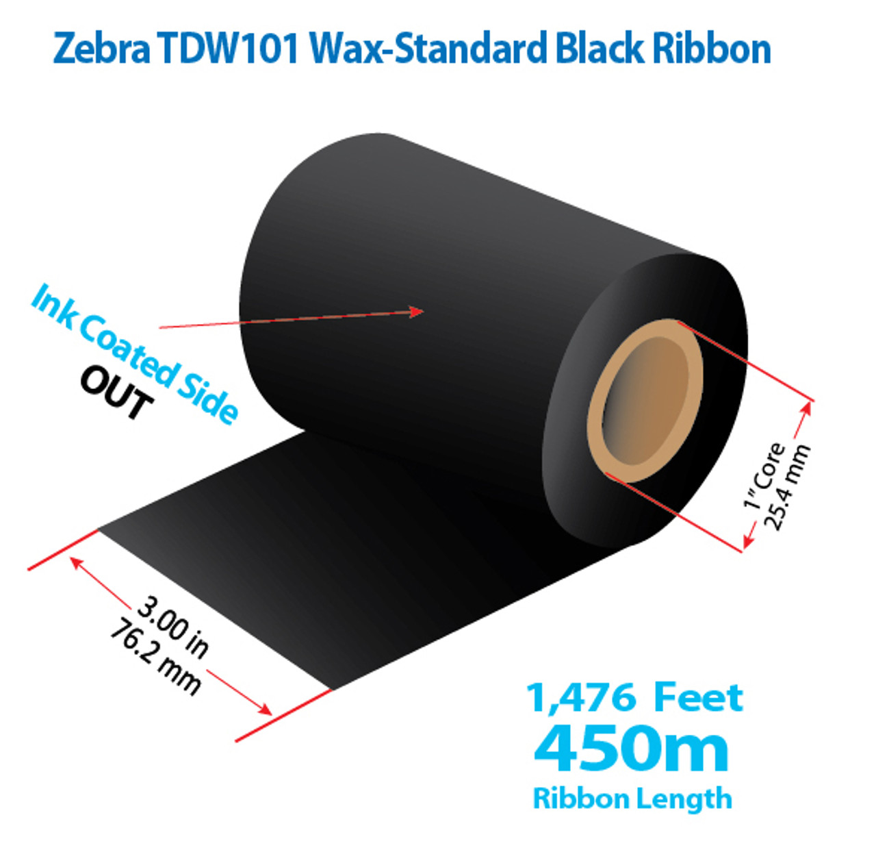 """Zebra 3"""" x 1476 Ft TDW101 Wax Ribbon with INK OUT   24/CTN (39054)"""