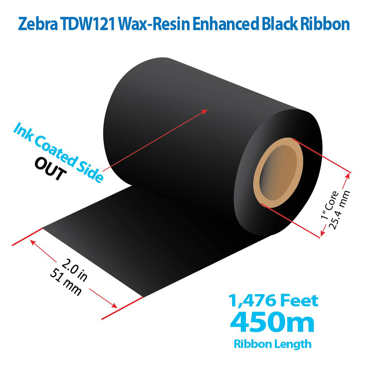 """Zebra 2"""" x 1476 Ft TDW121 Resin Enhanced Wax Ribbon with INK OUT   36/CTN (39131)"""
