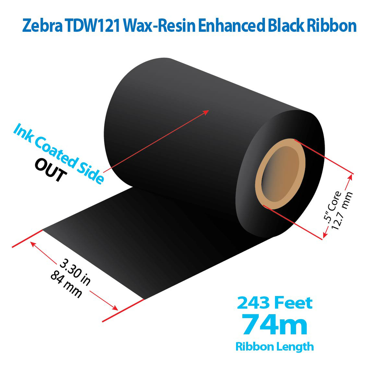 "Zebra Eltron 2844 3.3"" x 243 Ft TDW121 Resin Enhanced Wax Ribbon with INK OUT | 72/CTN (39159)"