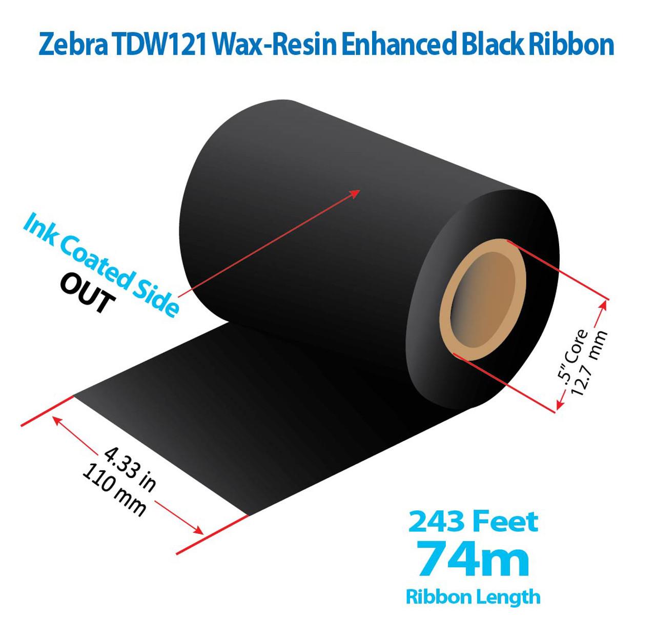 "Zebra Eltron 2844 4.33"" x 243 Ft TDW121 Resin Enhanced Wax Ribbon with INK OUT | 72/CTN (39160)"