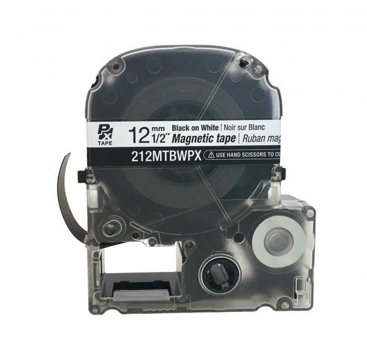 "Epson/K-SUN 212MTBWPX-4.9 BLK ON WHT PX Label Tape 1/2""/12MM Magnet Tape"