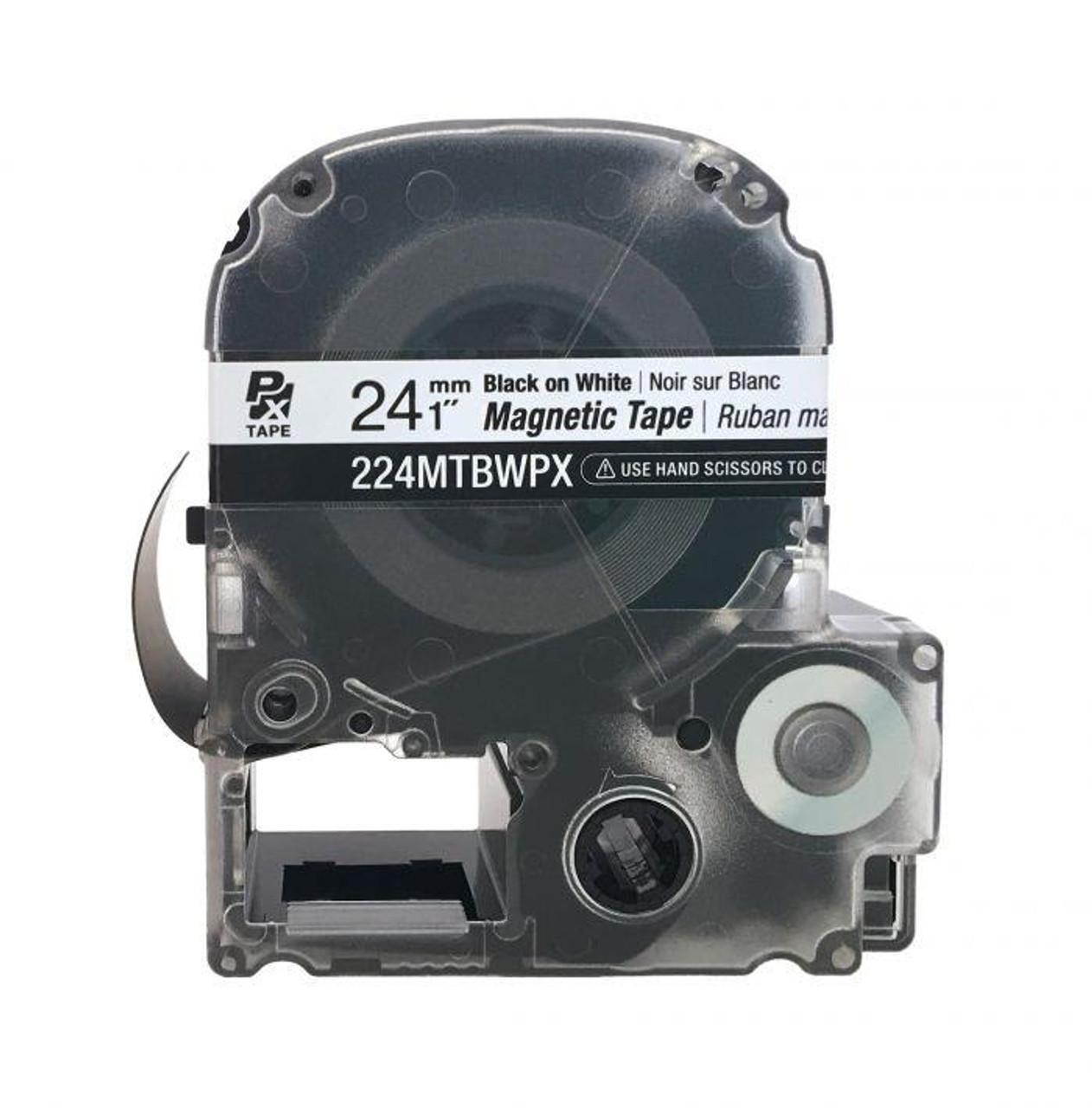 "Epson/K-SUN 224MTBWPX-4.9 BLK ON WHT PX Label Tape 1""/24MM Magnet Tape"