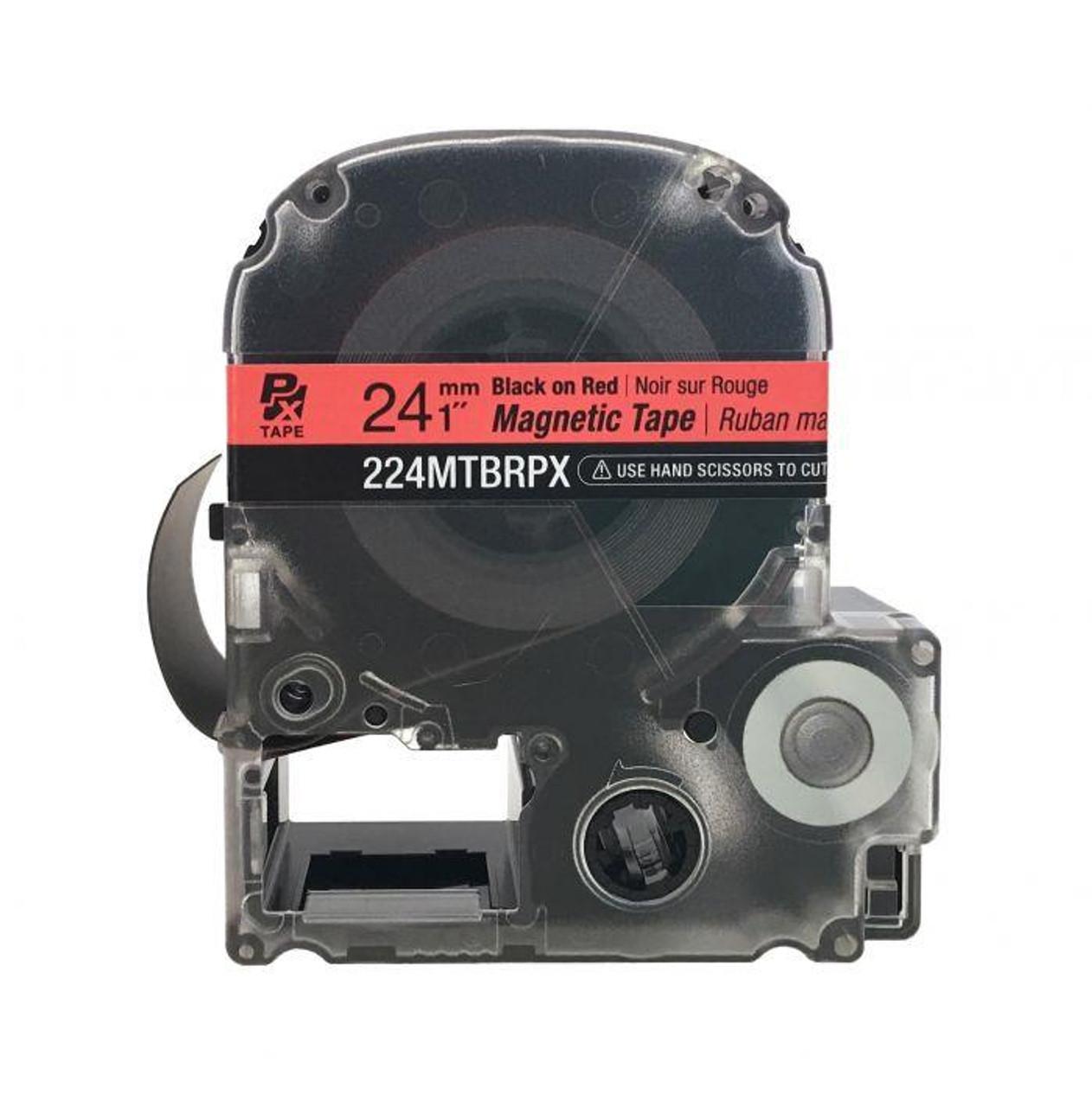 "Epson/K-SUN 224MTBRPX-4.9 BLK ON RED PX Label Tape 1""/24MM Magnet Tape"