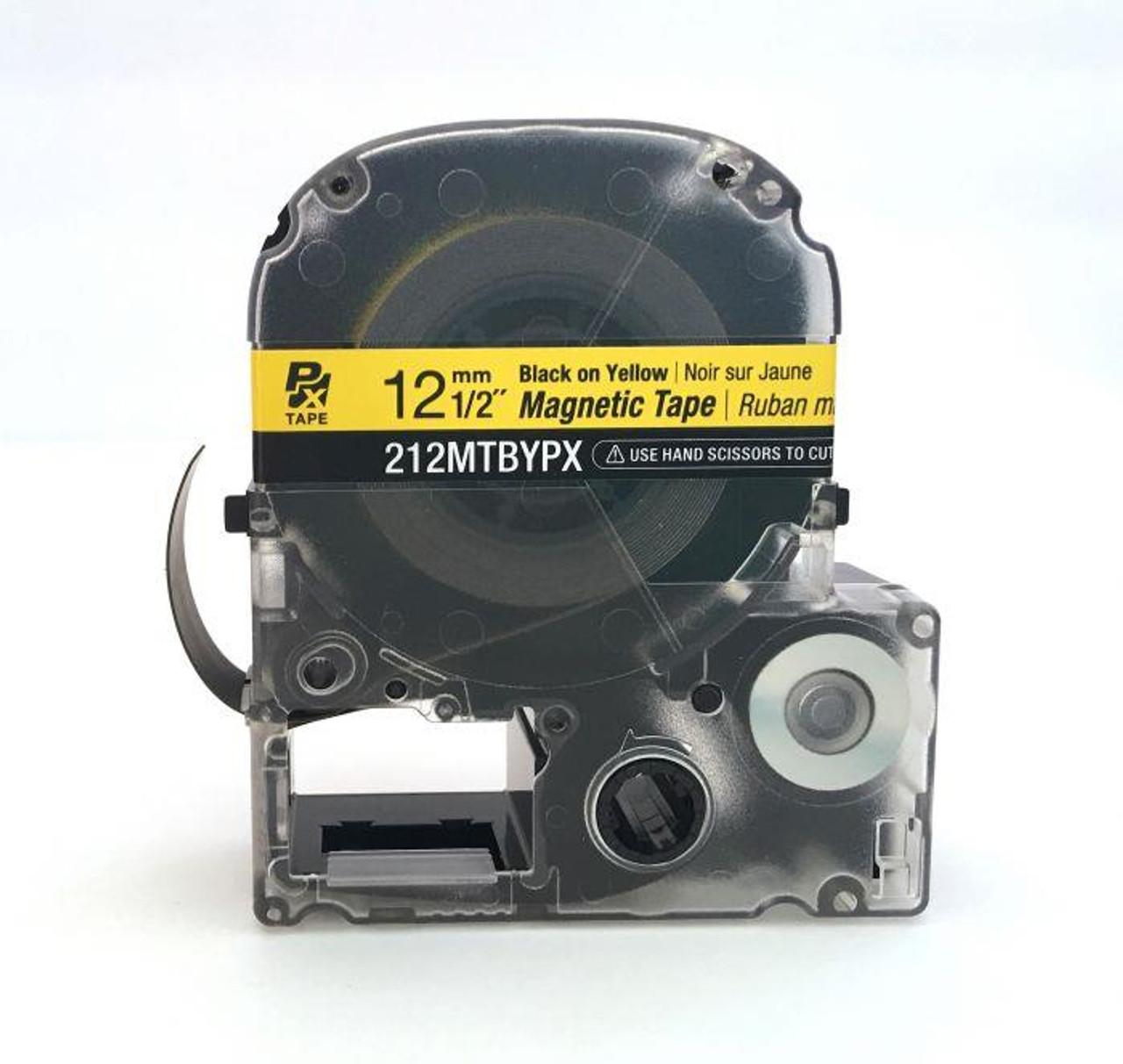 "Epson/K-SUN 212MTBYPX-4.9 BLK ON YLW PX Label Tape 1/2""/12MM Magnet Tape"
