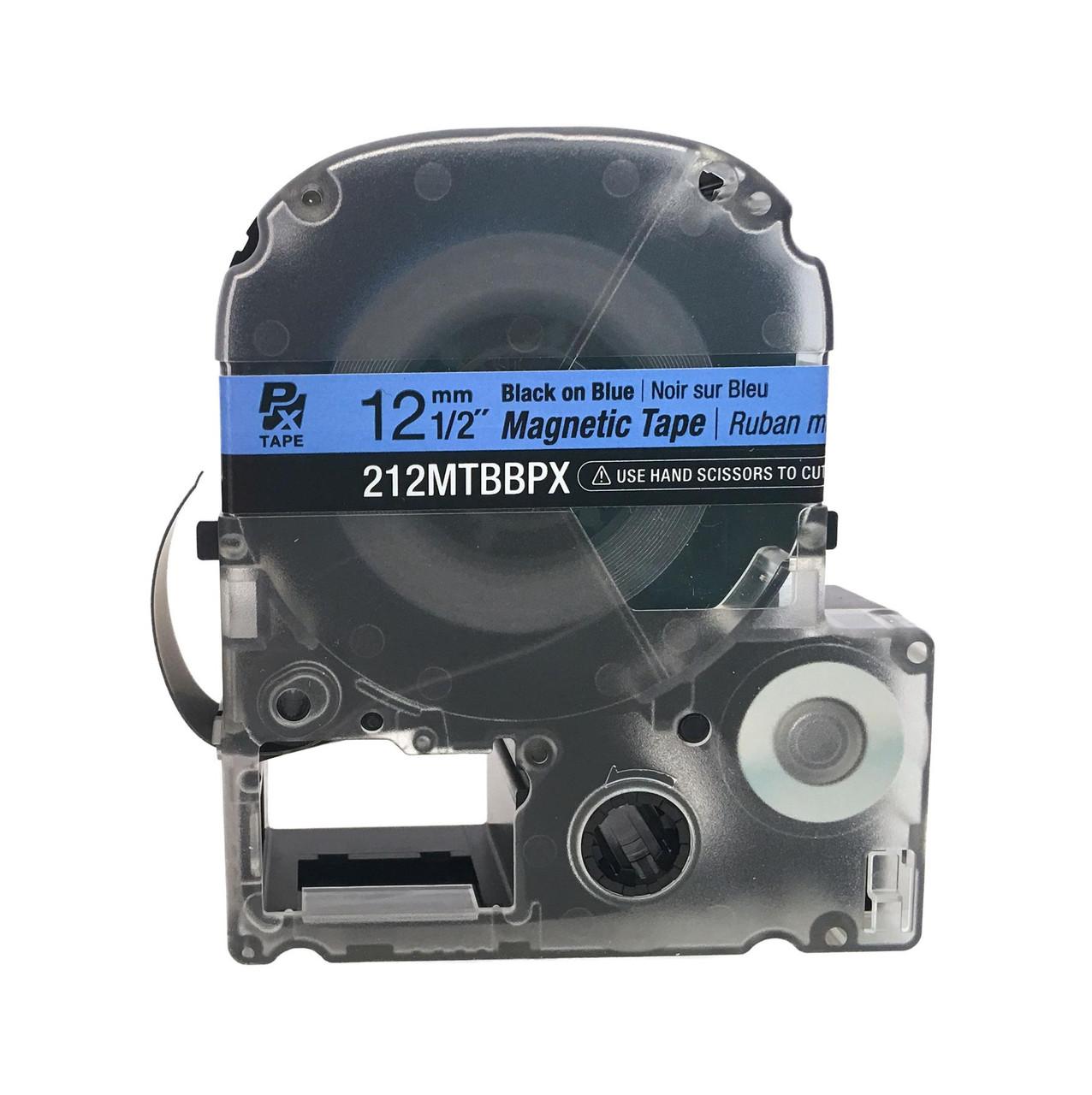 "Epson/K-SUN 212MTBBPX-4.9 BLK ON BLU PX Label Tape 1/2""/12MM Magnet Tape"