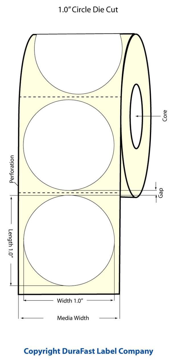 "Inkjet 1"" Circle (1 UP) Matte Paper Label 1500/Roll"