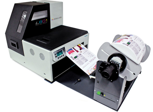 Afinia L801 Memjet label printer connected to the Rewinder for roll to roll label printing at 60 feet per minute.