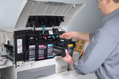 Primera CX1200 color laser label printer showing how easy it is to change the color toner cartridges