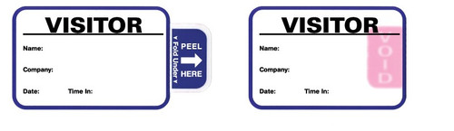 "VisitorPass 3"" x 2"" TAB Expiring Direct Thermal Name Badges"