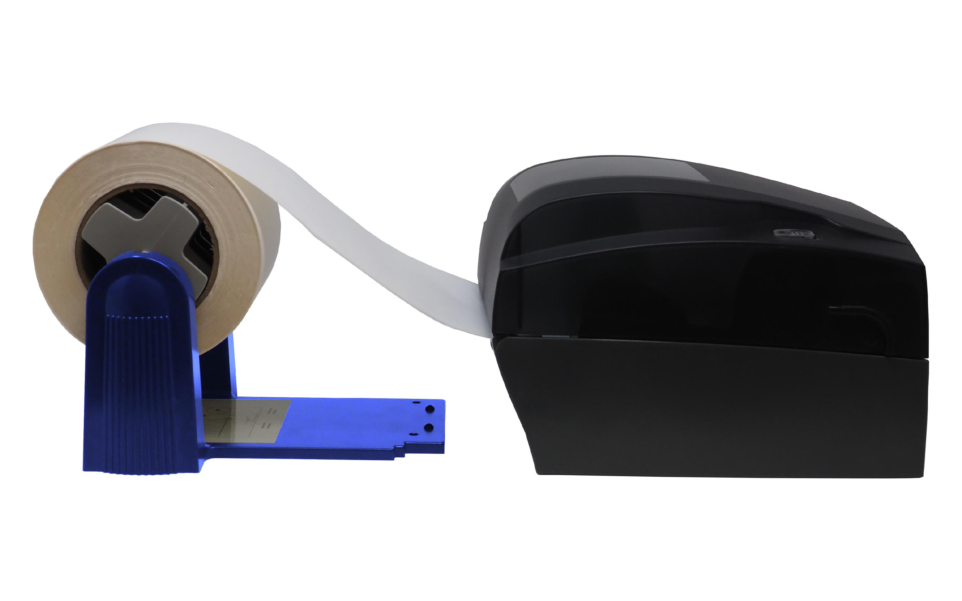 Desktop thermal printer with external label unwinder